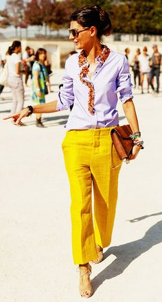 Light purple embellished button-down shirt, yellow trousers, and nude heels