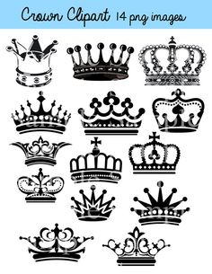 Crown Clipart Clip Art Crown Silhouette Clipart Clip by BridalBust, $3.50