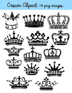Crown Clipart Clip Art Crown Silhouette Clipart Clip by BridalBust, $3.50
