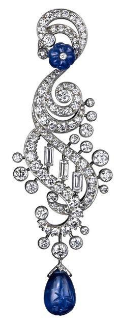 Cartier's Sapphire & Diamond TS Ear Pendant