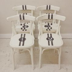 Cool vintage French Bentwood Cafe chairs reworked with racing stripes / Frenchfinds.co.uk / French painted furniture