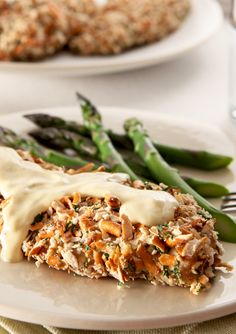 Pretzel Chicken POUPON – Boneless, skinless chicken breasts are dipped in a mixture of mustard and ranch dressing, coated in crushed pretzels, and baked to crispy perfection.