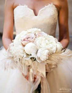 """Elegance"" Portrayed In A Bridal Bouquet.... ""Vintage"" Ultra Light Lavender Roses, Large White Garden Roses, White Peonies, White Ostrich Feathers, & Hand Tied All Together With White Satin & Organza Ribbons"