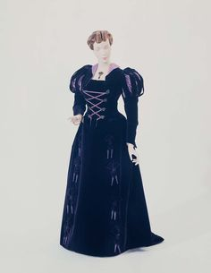 1877, France - Dress by House of Worth - Silk, purple velvet; bodice adapted from late 16th or early 17th century style