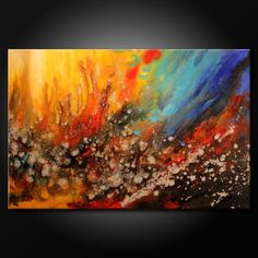 24x36 Modern Acrylic Abstract Painting Original Fine Art by FARIAS