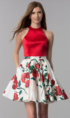 Satin Red-Floral-Print-Skirt Short Homecoming Dress - Short Red-Floral-Print-Skirt Homecoming Party Dress Source by tiffanyclaireho - Casual Party Dresses, Hoco Dresses, Homecoming Dresses, Dresses For Teens, Elegant Dresses, Cute Dresses, Formal Dresses, Dress Casual, Floral Print Skirt