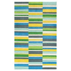 Hand-tufted wool rug with layered striping.   Product: RugConstruction Material: 100% WoolColor: Blue