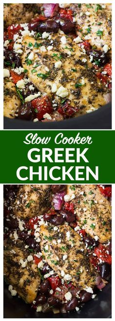 Slow Cooker Greek Chicken moist juicy chicken with a bright Mediterranean flavors roasted red peppers and feta Easy healthy and absolutely delicious crockpot recipe Reci. Delicious Crockpot Recipes, Crockpot Chicken Healthy, Healthy Slow Cooker, Slow Cooker Recipes Paleo, Easy Healthy Crockpot Meals, Slow Cooker Dinners, Crockpot Dishes, Healthy Crockpot Soup Recipes, Slow Cooker Pot Roast