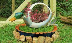 Mallard duck with nest planter -recycling old tire - garden decoration