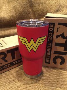 Travel Tumbler with Red Powder-coating & Logo Insulated Tumblers, Powder Coating, Shot Glass, Dc Comics, 30th, Wonder Woman, Logo, Red, Travel