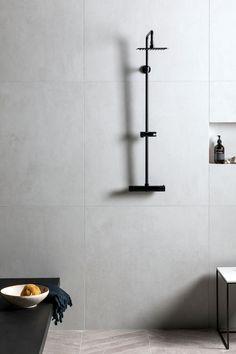 Discover our Fusion Grey Matt Porcelain Tile, a beautiful stone effect tile that mimics the texture of limestone, granite & marble. Ceramic Tile Bathrooms, White Bathroom Tiles, Concrete Bathroom, Porcelain Tiles, Concrete Floor, Wall Tiles, Small Bathroom, Grey Floor Tiles, Grey Flooring