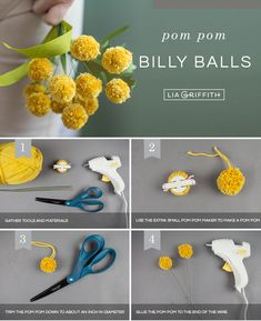 Cute & Easy Pom-Pom Billy Balls (Craspedia) - Lia Griffith - *All Things DIY & Creative* - Craspedia Globosa! ☀️🌿 For this billy ball bouquet (also known as Craspedia), we went with s - Craft Stick Crafts, Felt Crafts, Crafts For Kids, Diy Crafts, Preschool Crafts, Pom Pom Crafts, Flower Crafts, Felt Flowers, Diy Flowers