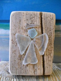 Sea glass Angel on driftwood. Found on Margate by LovefromMargate