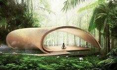 Kengo Kuma unveiled his design for six unique villas, a yoga pavilion and a greenhouse in Bali.