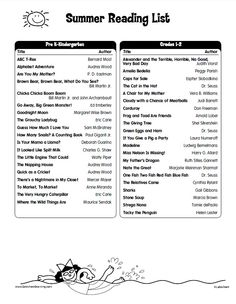 Summer Reading List from Lakeshore for Pre K-Kindergarten students & 1st- 2nd grade students.