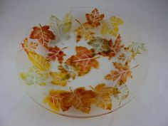 Red orange brown yellow and green leaves by glasspiecesstudio, $75.00