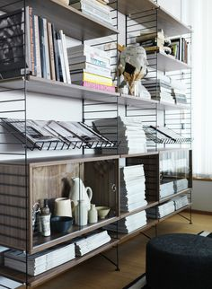 String Shelving | Black with Walnut Shelves and Cabinets and Metal Magazine Shelves