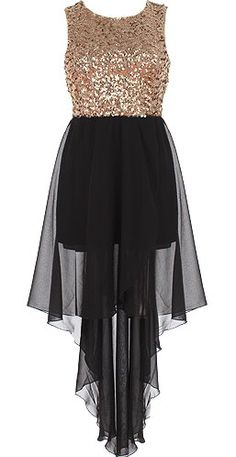 Regal Cascade Dress: Features a sparkling sequin bodice with cutout open back, elegant noir chiffon skirt with shorter-length liner for full coverage, chic high-low hem for added glamour, and a rear zip closure to finish.