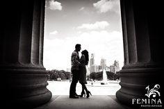 Black and white engagement photography; Philadelphia Art Museum Engagement Session
