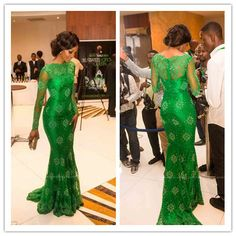 $144.42--Elegant Green Long Sleeves Lace Mermaid Formal Evening Gowns Prom Dresses