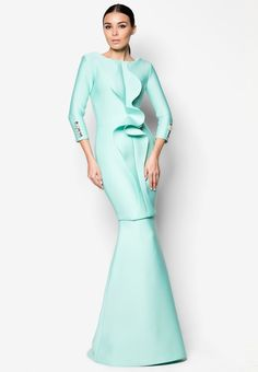 Woo/Fiziwoo Ampang Baju Kurung Online | ZALORA Malaysia Long Sleeve Gown, Evening Dresses, Formal Dresses, Designer Gowns, Modest Fashion, Kebaya, Dress Up, Muslim, Glamour