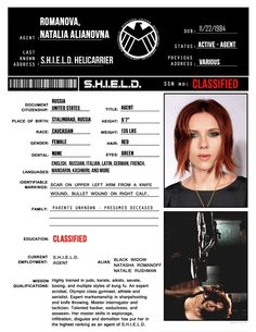 S.H.I.E.L.D profile- Natasha Romanoff - And more... made me laugh xD Pre order Avengers age of ultron, get some killer goodies! http://www.bestsellerlist.co.uk/2015/07/avengers-age-of-ultron.html #avengers #avengersageofultron #marvel