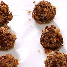 Shape semisweet chocolate, butter and cream into balls and roll in crushed toffee candy bars for a luscious treat.