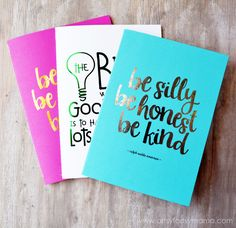 DIY Foil Notebooks at artsyfartsymama.com