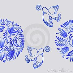 Seamless floral pattern, hand drawn, , illustration in Ukrainian folk style, via Dreamstime