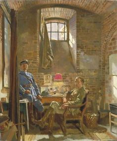 Sir William Orpen ~ In Their Cellar in Amiens: Captain R. Maude,  Department of the Army, Provost Marshal General, Awarded the Croix de Guerre by the French Authorities, and Colonel Du Tiel, Commandant d'Armes, Amiens