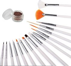 16 Piece Nail Art Tip Brush Tool Set - Dotting Pen Drawing Liner Striper and Fine Detail with Free Gift Glitter Powder -- This is an Amazon Affiliate link. Click on the image for additional details.