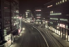 Stockholm by night. Junction between Kungsgatan and Sveavägen streets in Stockholm city. Photo taken in 1940 by Fredrik Bruno.