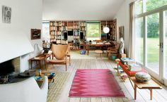 'Finn Juhl's own house is a textbook example of Finn Juhl's intention as an architect and furniture designer. He built the house on Kratvænget My Living Room, Home And Living, Living Spaces, Living Area, Interior Bohemio, Deco Boheme, Apartment Furniture, Living Room Inspiration, Interior Inspiration