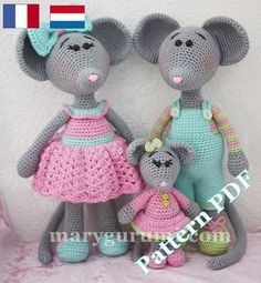 Pattern, patron, tutoriel amigurumi Famille de souris au crochet