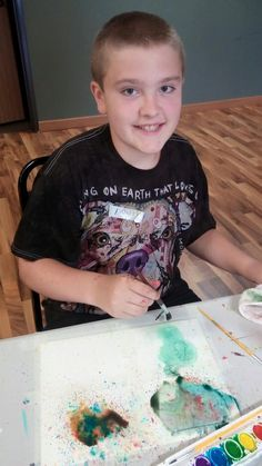 7/26/15.  Monticello's Erin's art camp encompassed the exploration of watercolor and acrylic. We experimented with different techniques and textures...and we had fun doing it! Danny experimenting with tapping and spraying. He's got it!