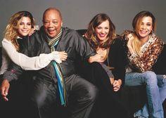Kenya, Rashida, and Kidada with their father, Quincy Jones.