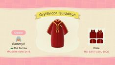 Gryffindor Outfits - Animal Crossing Pattern Gallery & Custom Designs The Burrow, Clothing Tags, Animal Crossing, The Creator, Custom Design, Pattern, Animals, Outfits, Gallery