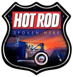 Vintage and Retro Wall Decor - JackandFriends.com - Retro Hot Rod Spoken Here Shield Tin Sign, $47.97 (http://www.jackandfriends.com/vintage-hot-rod-spoken-here-shield-metal-sign/)
