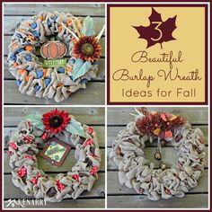 Burlap has become a very popular fabric in home decor these days, especially in seasonal wreaths. Here are 3 ideas to make your own Fall Burlap Wreaths.