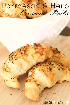 Parmesan and Herb Crescent Rolls from sixsistersstuff.com.  An easy and delicious side dish to any meal! #recipes #dinner #rolls