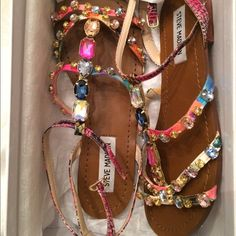 """Steve Madden Sandal """"BJeweled"""" Worn once, excellent condition, gorgeous in person but sizing for this sandal runs small. Steve Madden Shoes Sandals"""