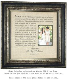 Burlap Wedding Decoration Mother of the by PhotoFrameOriginals