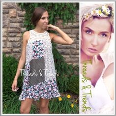 """Vintage Print Patchwork Shirtdress nother fabulous vintage floral print patchwork tunic dress design. Featuring crochet detail neckline. Perfect for the hot summers months. Pair with leggings, denim shorts or simply wear as a dress. Colors pink and black sizes made of rayon S, M, L size chart pictured. Bundle and save! Fuschia striped crochet.                               Small Bust 36"""" Length 34  Medium  Bust 38"""" Length 34""""  Length Bust 40"""" Length 35"""" shirt dress Dresses"""