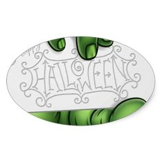 Zombie Monster Hand Holding Happy Halloween Sign Oval Sticker #halloween #holiday #creepyhollow #stickers