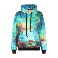 Green Galaxy Print Long Sleeve Sweatshirt (525 MXN) ❤ liked on Polyvore featuring tops, hoodies, sweatshirts, sweatshirt, jackets, green sweatshirt, blue hoodie, long sleeve hoodie, galaxy hoodie and long hoodies