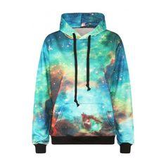 Green Galaxy Print Long Sleeve Sweatshirt ($23) ❤ liked on Polyvore featuring tops, hoodies, sweatshirts, sweatshirt hoodies, galaxy sweatshirt, long sleeve hoodie, hoodie sweatshirts and sweat shirts