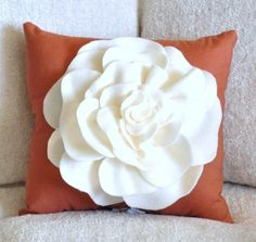 Throw Pillow Ivory Rose on Burnt Orange Pillow 14 x 14 by bedbuggs, $31.00
