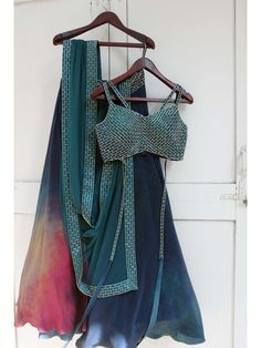 stunning teal blue colored partywear lehenga in crepe silk with matching teal blue color choli and a similar laced nazmeen silk dupatta in teal blue color. Indian Lehenga, Red Lehenga, Anarkali, Simple Lehenga Choli, Bridal Lehenga, Saree, Choli Designs, Lehenga Designs, Ethnic Outfits
