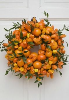 A wreath made of oranges.