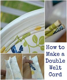 How to Make a Double Welt Cord - Whats Ur Home Story.  This is great for covering messy edges when you upholster furniture.